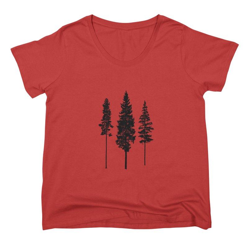 Minimalist Skinny Pine Trees FEMININE Scoop Neck by Fighting for Nature