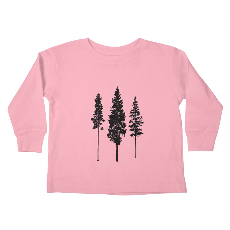 Minimalist Skinny Pine Trees Kids Toddler Longsleeve T-Shirt by Fighting for Nature