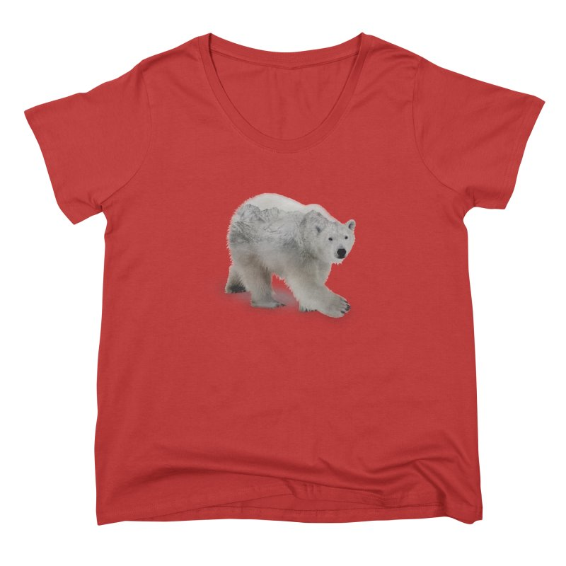 Polar Bear and Mountains FEMININE Scoop Neck by Fighting for Nature