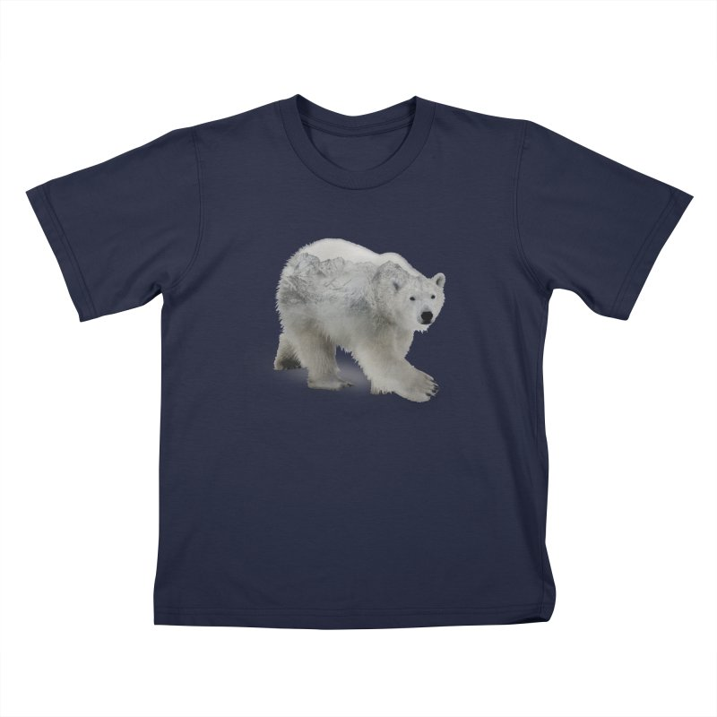 Polar Bear and Mountains Kids T-Shirt by Fighting for Nature