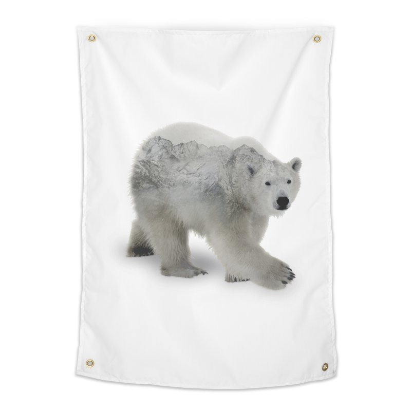 Polar Bear and Mountains WALL & DECOR Tapestry by Fighting for Nature