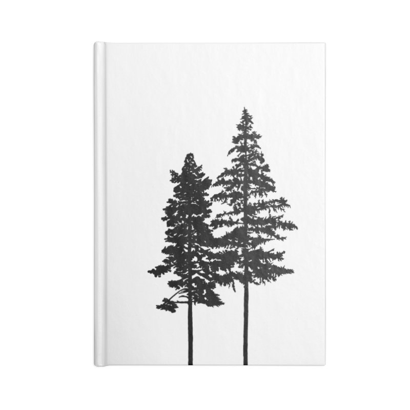 Minimalist 2 Skinny Pine Trees Accessories Notebook by Fighting for Nature