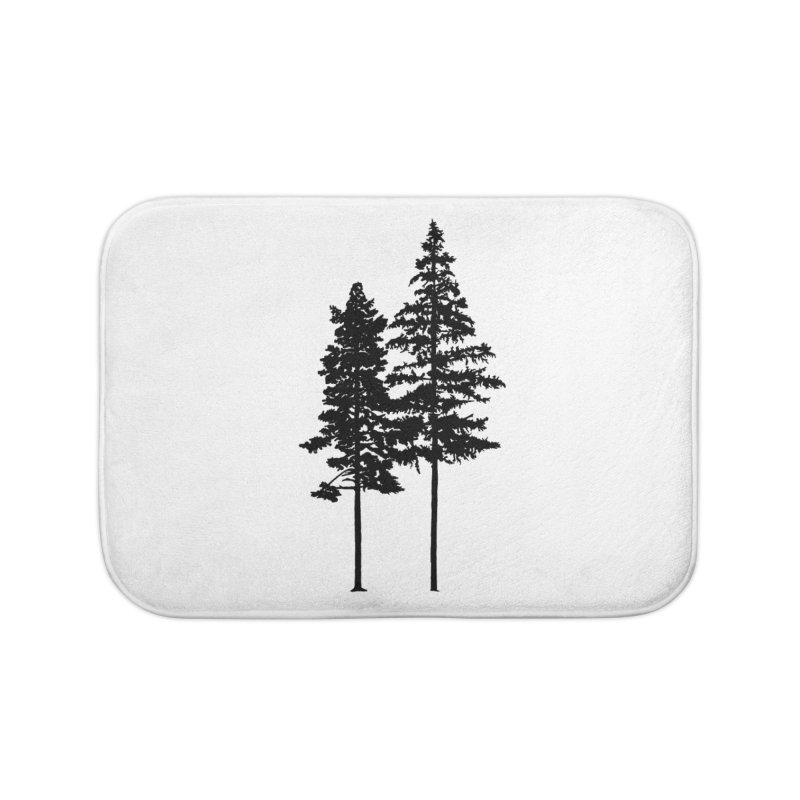 Minimalist 2 Skinny Pine Trees WALL & DECOR Bath Mat by Fighting for Nature