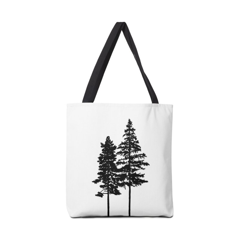 Minimalist 2 Skinny Pine Trees Accessories Bag by Fighting for Nature