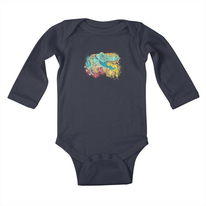 Jurassick Puke Kids Baby Longsleeve Bodysuit by fightstacy