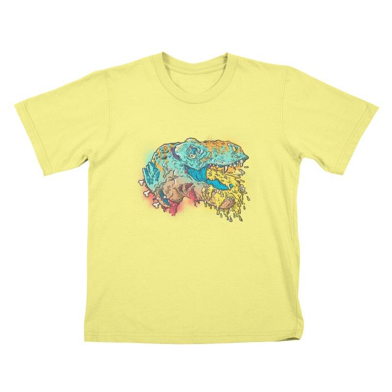 Jurassick Puke Kids T-shirt by fightstacy