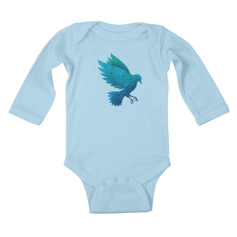 Birdy Bird Kids Baby Longsleeve Bodysuit by Fil Gouvea's Artist Shop