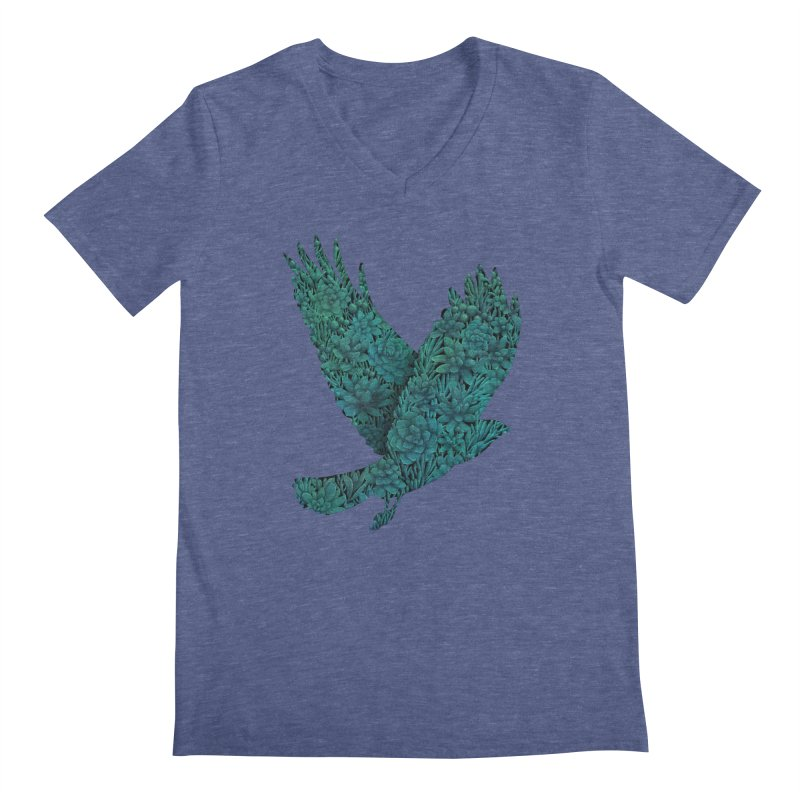 Blue Bird Men's V-Neck by Fil Gouvea's Artist Shop