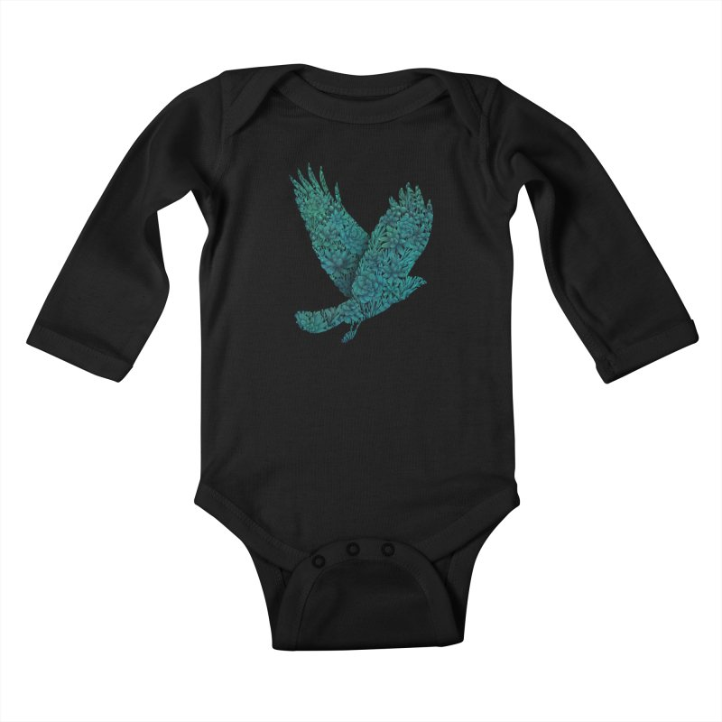 Blue Bird Kids Baby Longsleeve Bodysuit by Fil Gouvea's Artist Shop