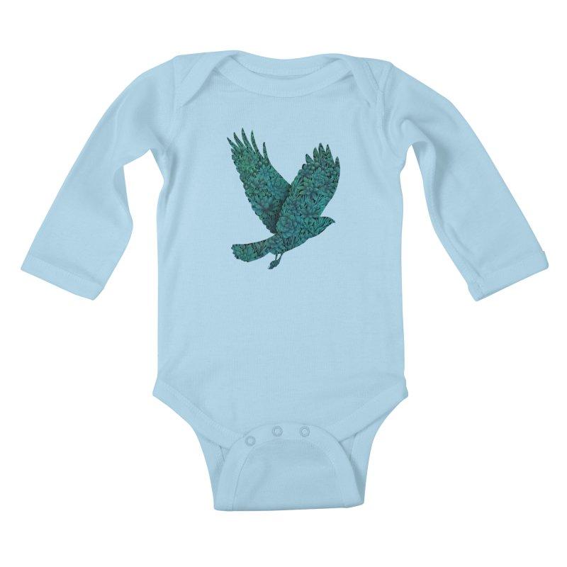 Blue Bird Kids Baby Longsleeve Bodysuit by Fil Gouvea's Artist Shop