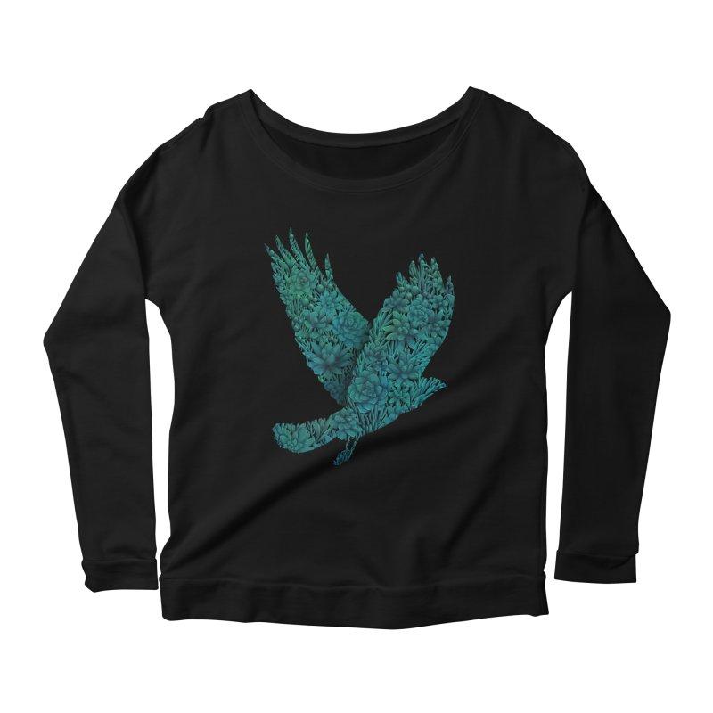 Blue Bird Women's Longsleeve Scoopneck  by Fil Gouvea's Artist Shop