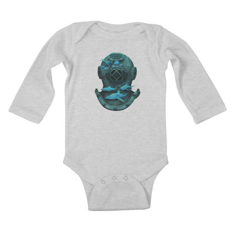 Deep Diving Kids Baby Longsleeve Bodysuit by Fil Gouvea's Artist Shop