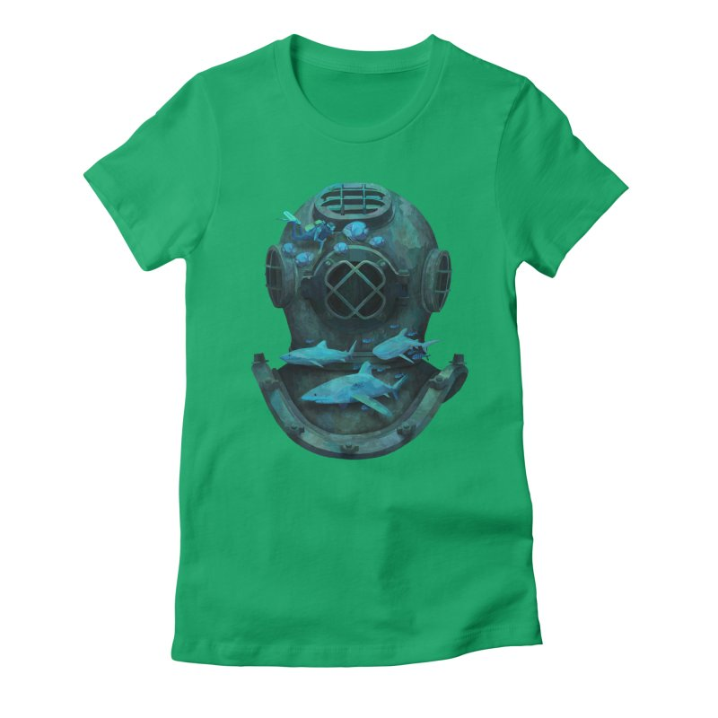 Deep Diving Women's Fitted T-Shirt by Fil Gouvea's Artist Shop