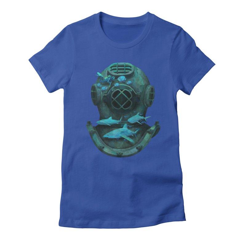 Deep Diving Women's Fitted T-Shirt by Fil Gouvea's Artist Shop
