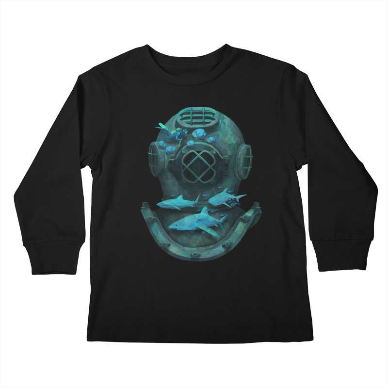 Deep Diving in Kids Longsleeve T-Shirt Black by Fil Gouvea's Artist Shop