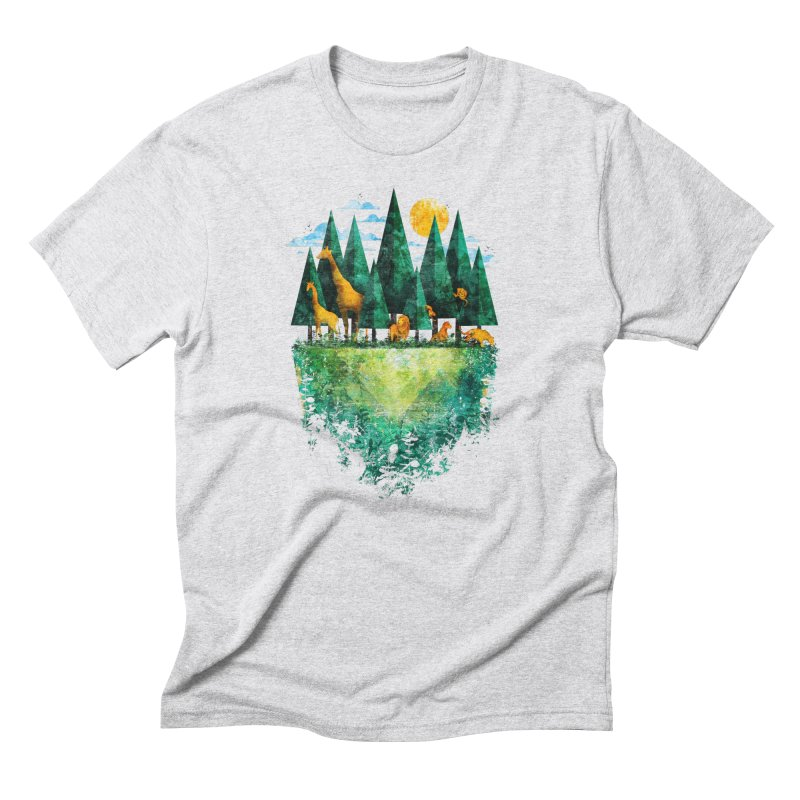 Geo Forest in Men's Triblend T-Shirt Heather White by Fil Gouvea's Artist Shop
