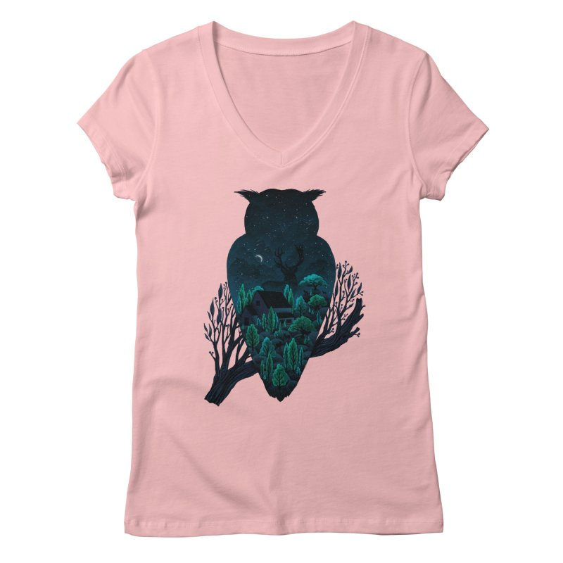 Owlscape Women's V-Neck by Fil Gouvea's Artist Shop