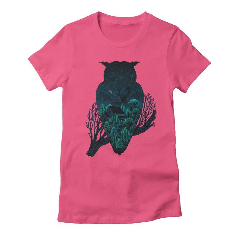 Owlscape Women's Fitted T-Shirt by Fil Gouvea's Artist Shop