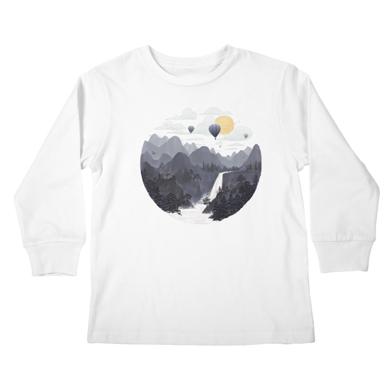Roundscape II in Kids Longsleeve T-Shirt White by Fil Gouvea's Artist Shop
