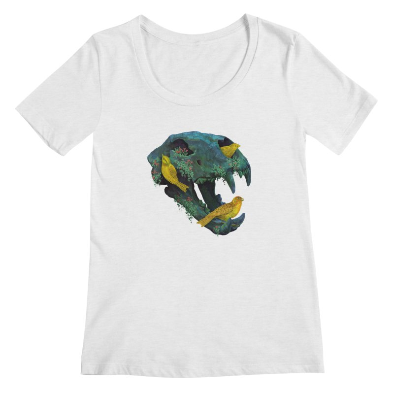 Three Little Birds Women's Scoopneck by Fil Gouvea's Artist Shop