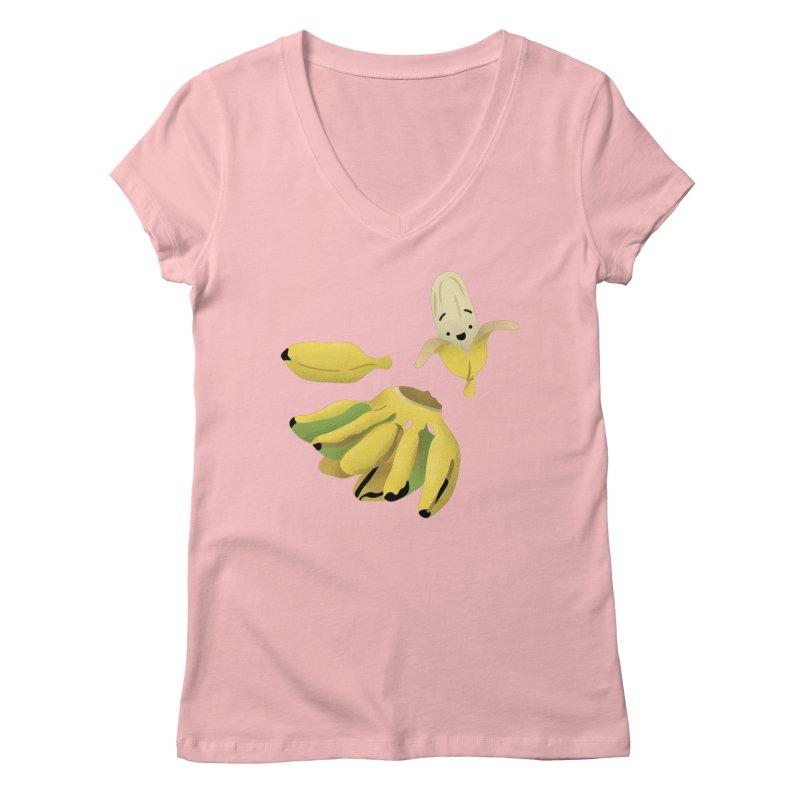 Saba bananas Women's V-Neck by Filipeanut Sari-Sari Store