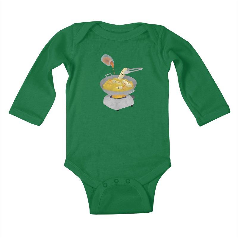 Cooking banana cue Kids Baby Longsleeve Bodysuit by Filipeanut Sari-Sari Store