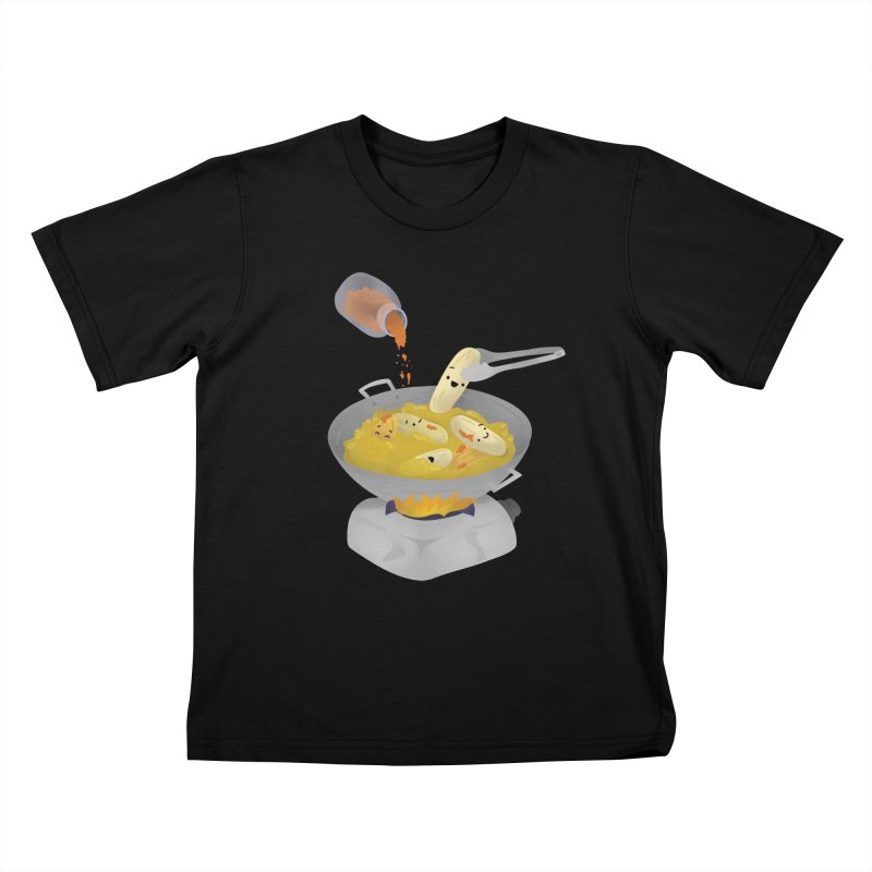 Cooking banana cue Kids T-Shirt by Filipeanut Sari-Sari Store