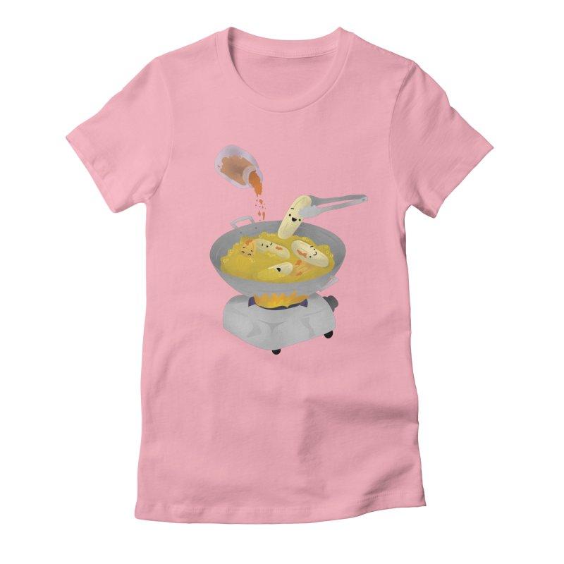 Cooking banana cue Women's Fitted T-Shirt by Filipeanut Sari-Sari Store