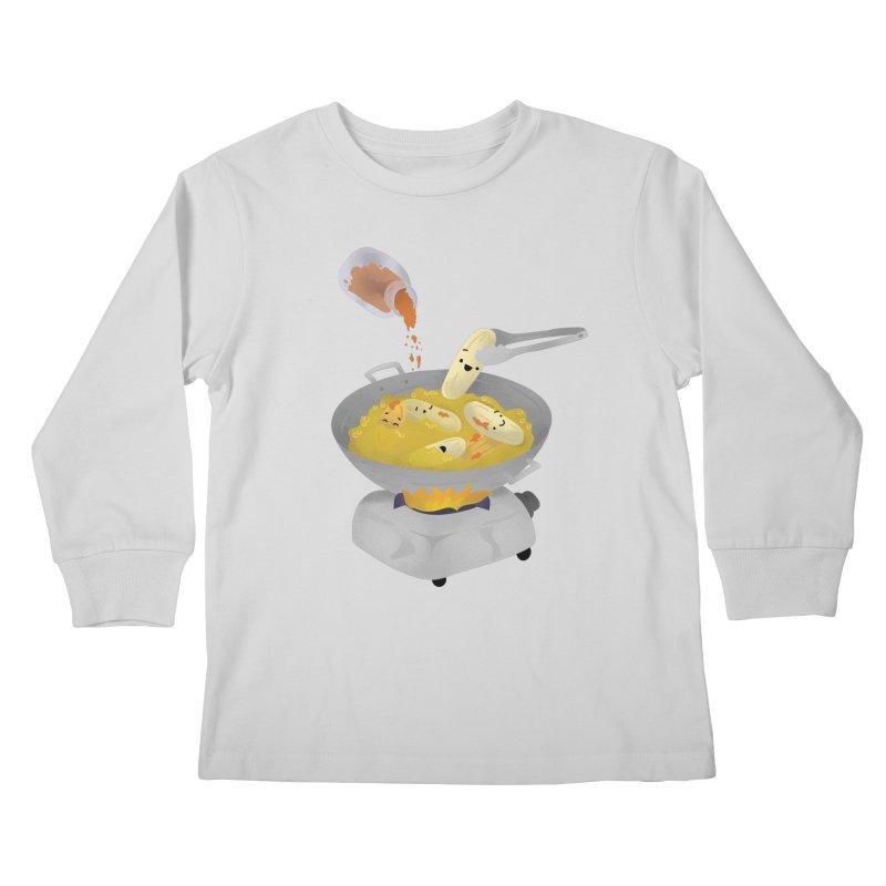 Cooking banana cue Kids Longsleeve T-Shirt by Filipeanut Sari-Sari Store