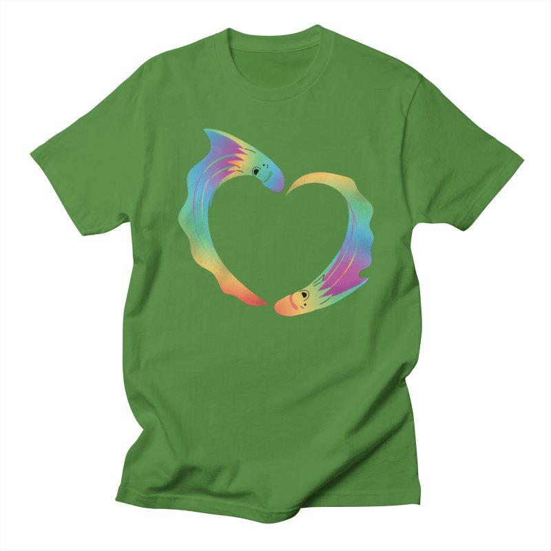 Rainbow Blanket Octopus Heart Men's Regular T-Shirt by Filipeanut Sari-Sari Store