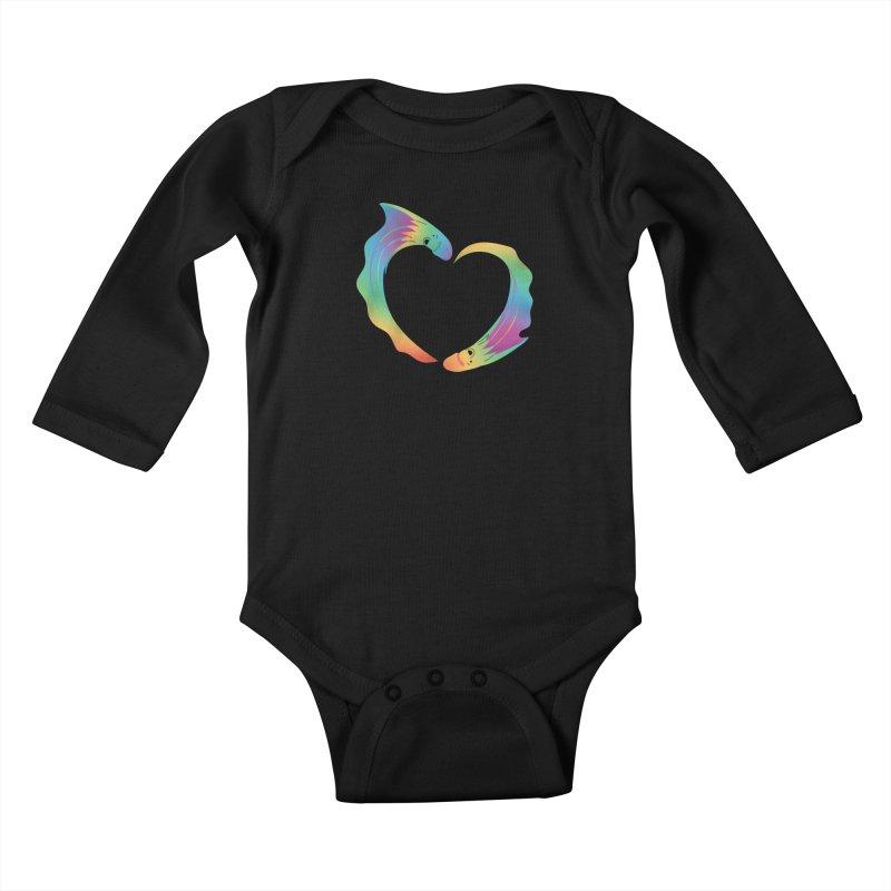 Rainbow Blanket Octopus Heart Kids Baby Longsleeve Bodysuit by Filipeanut Sari-Sari Store