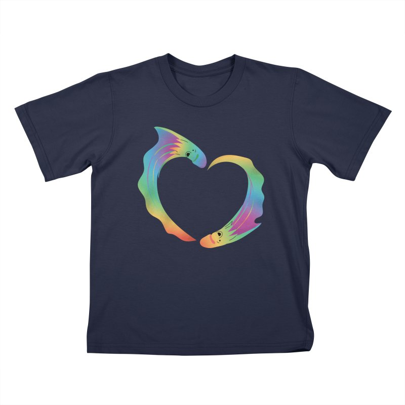 Rainbow Blanket Octopus Heart Kids T-Shirt by Filipeanut Sari-Sari Store