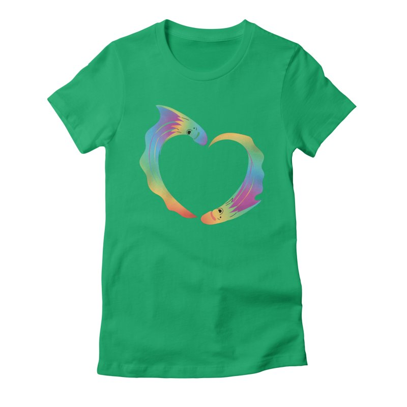 Rainbow Blanket Octopus Heart Women's T-Shirt by Filipeanut Sari-Sari Store
