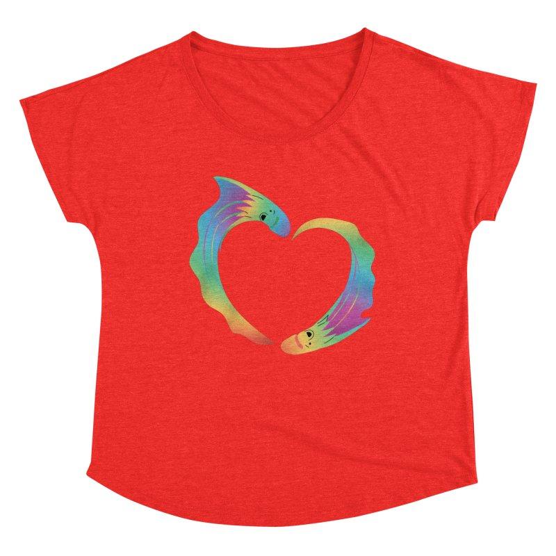 Rainbow Blanket Octopus Heart Women's Scoop Neck by Filipeanut Sari-Sari Store