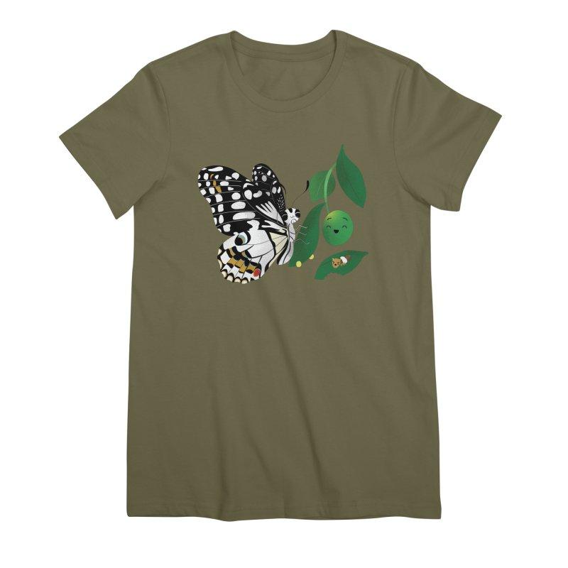 Paruparo ng Kalamansi with Calamansi & Caterpillar Women's Premium T-Shirt by Filipeanut Sari-Sari Store