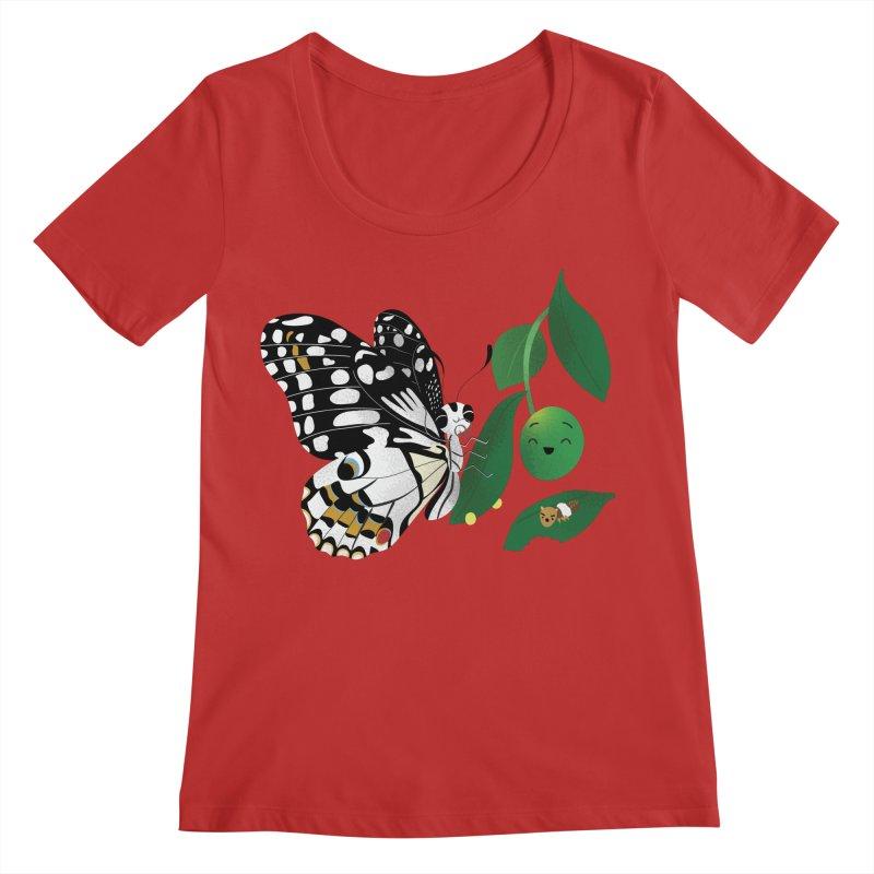 Paruparo ng Kalamansi with Calamansi & Caterpillar Women's Scoop Neck by Filipeanut Sari-Sari Store