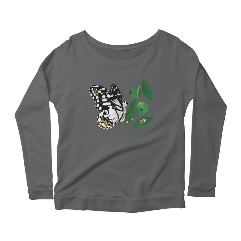 Paruparo ng Kalamansi with Calamansi & Caterpillar Women's Scoop Neck Longsleeve T-Shirt by Filipeanut Sari-Sari Store