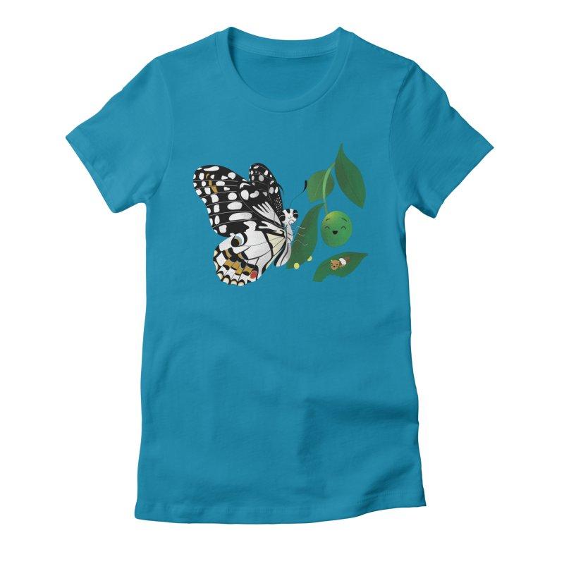 Paruparo ng Kalamansi with Calamansi & Caterpillar Women's Fitted T-Shirt by Filipeanut Sari-Sari Store