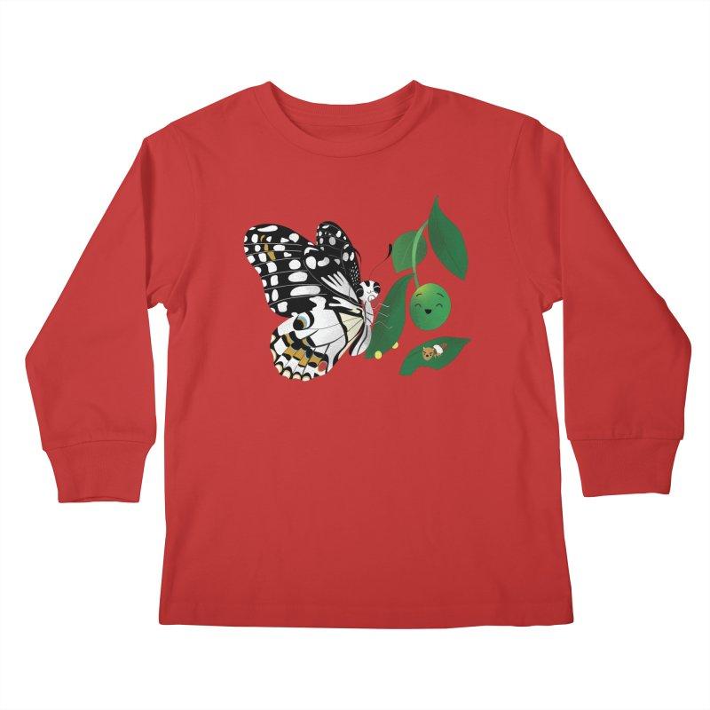 Paruparo ng Kalamansi with Calamansi & Caterpillar Kids Longsleeve T-Shirt by Filipeanut Sari-Sari Store