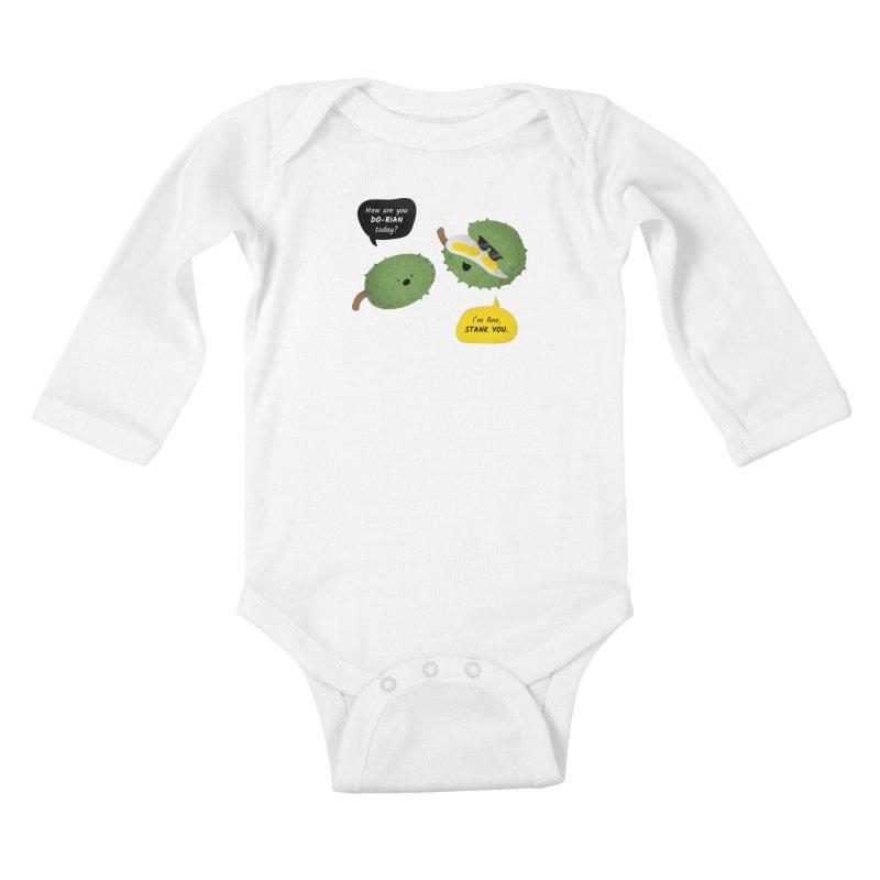 How are you Durian? Kids Baby Longsleeve Bodysuit by Filipeanut Sari-Sari Store