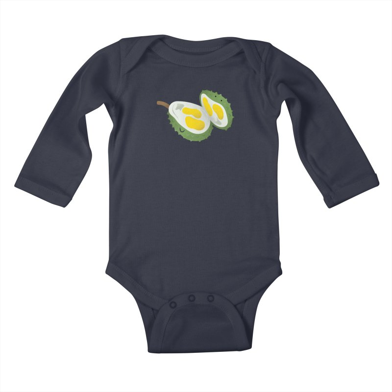 Durian, open wide! Kids Baby Longsleeve Bodysuit by Filipeanut Sari-Sari Store