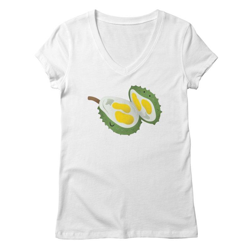 Durian, open wide! Women's V-Neck by Filipeanut Sari-Sari Store