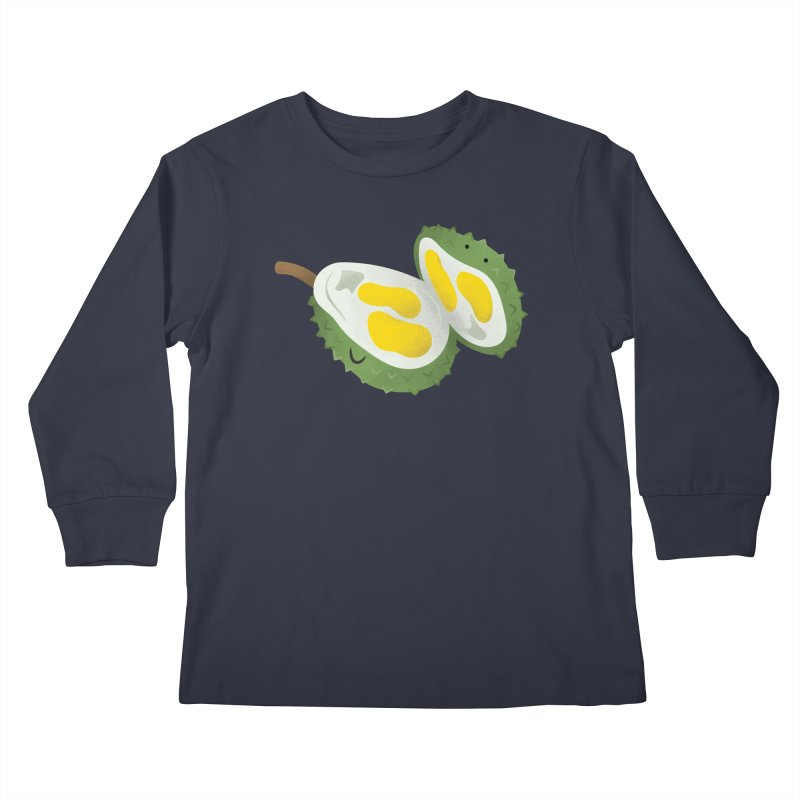 Durian, open wide! Kids Longsleeve T-Shirt by Filipeanut Sari-Sari Store