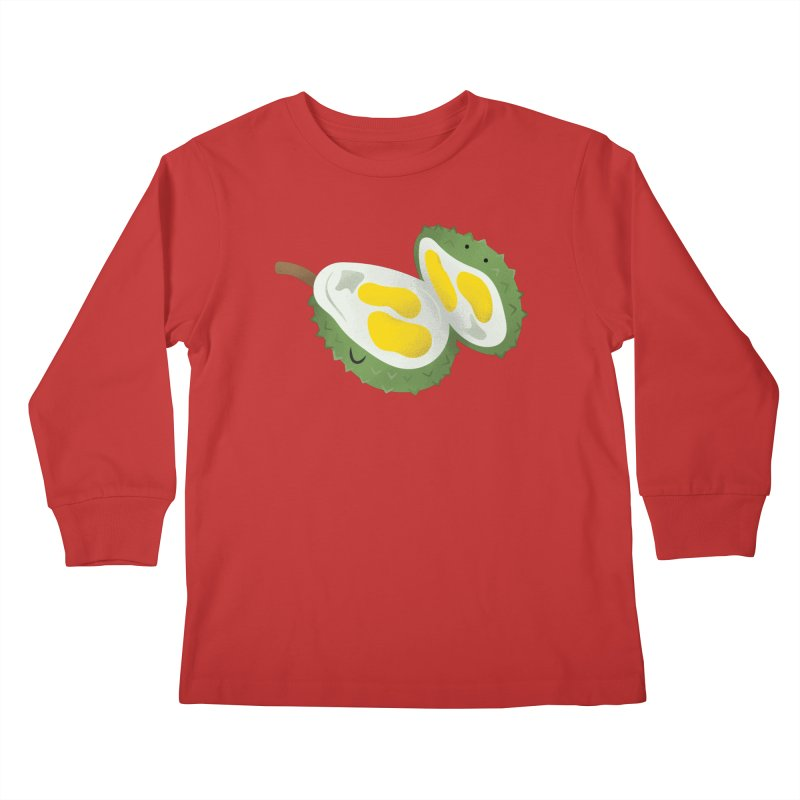 Durian, open wide! Kids Longsleeve T-Shirt by Filipeanut Sari-Sari Store