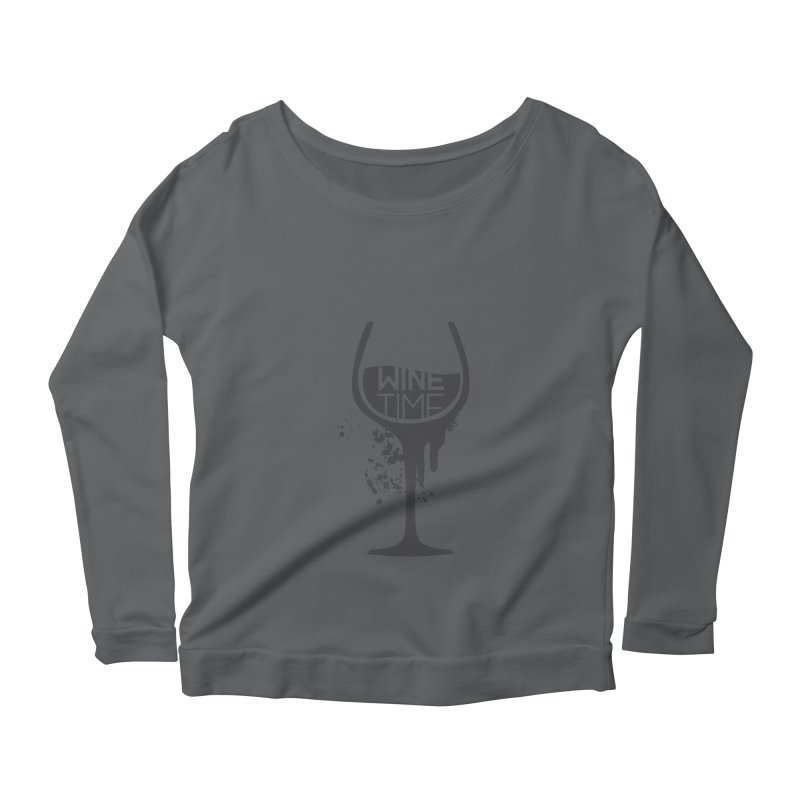 Wine time Women's Scoop Neck Longsleeve T-Shirt by fillettespompettes's Shop