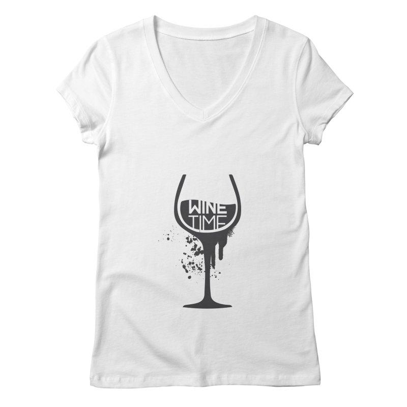 Wine time Women's Regular V-Neck by fillettespompettes's Shop