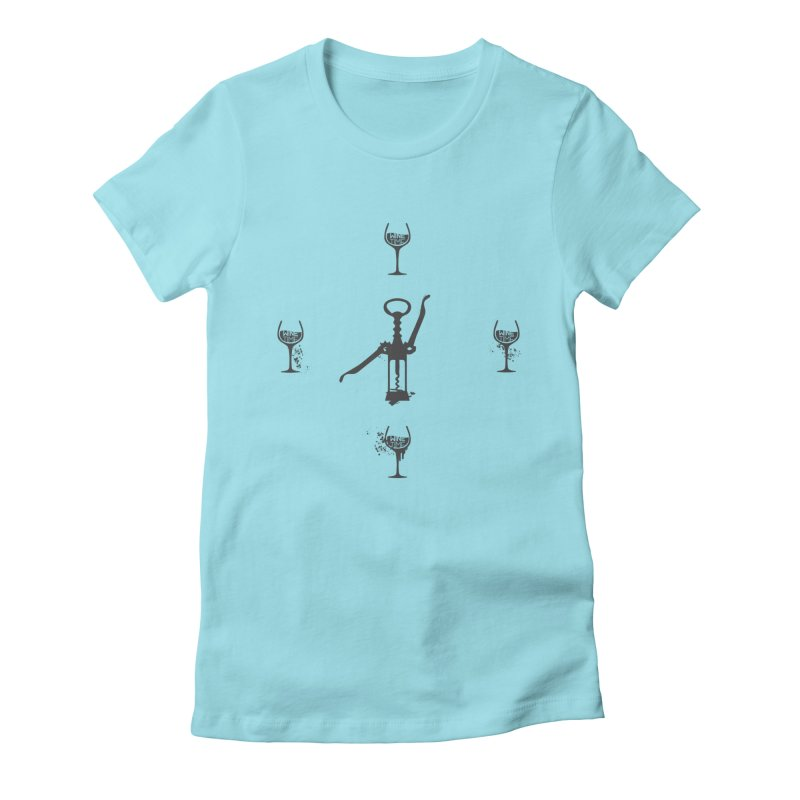 It's Wine Time!  Women's Fitted T-Shirt by fillettespompettes's Shop
