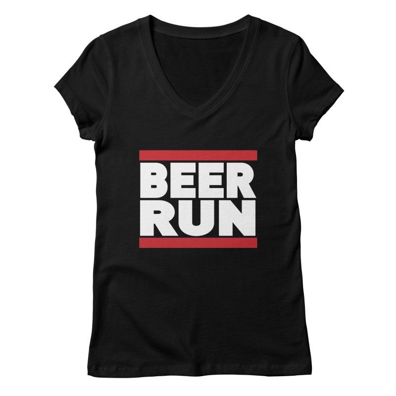 Beer Run  Women's V-Neck by Fillistrator's Artist Shop