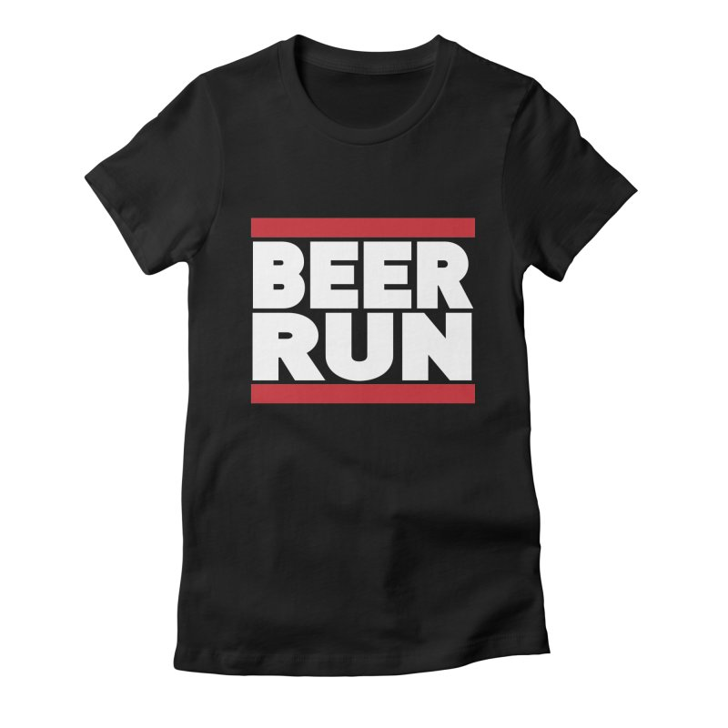 Beer Run  Women's Fitted T-Shirt by Fillistrator's Artist Shop