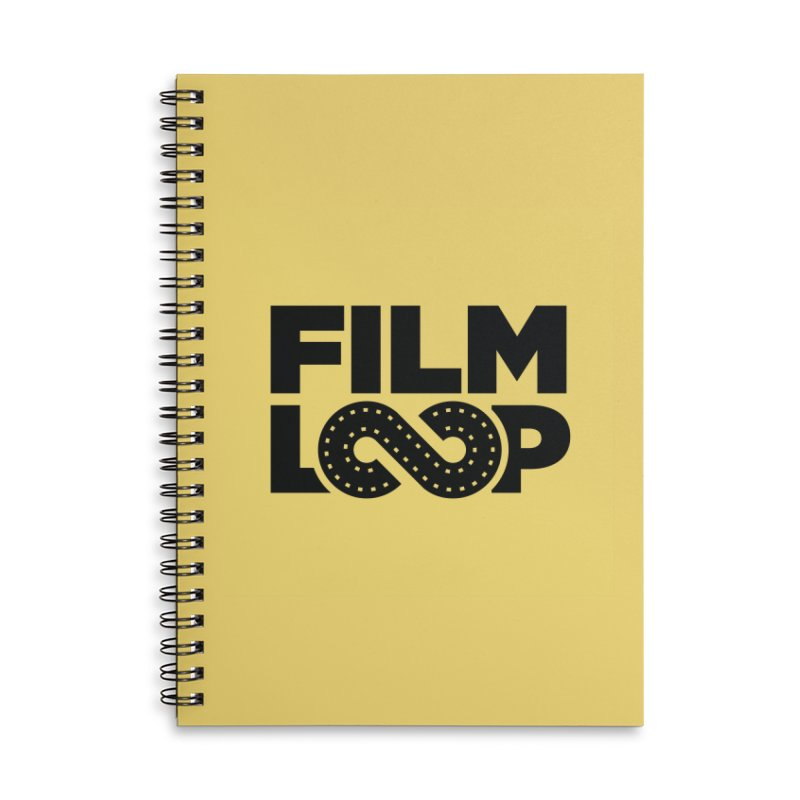 Film Loop Black in Lined Spiral Notebook by Film Loop Show